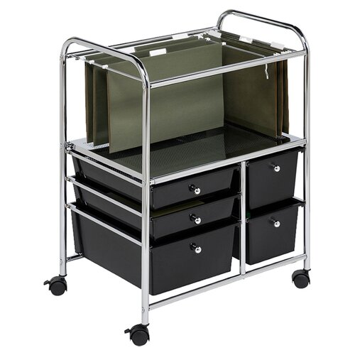 "Honey Can Do 28.75"" 5 Drawer Hanging File Cart in Chrome/Black"