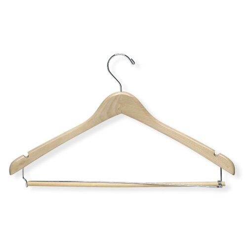 Contoured Suit Hanger with Locking Bar in Maple (6 Pack)