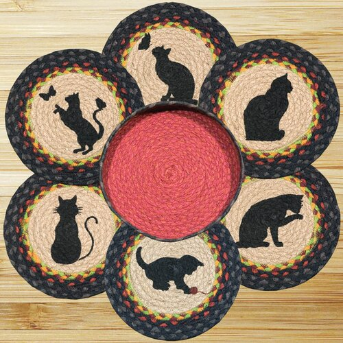 7 Piece Cats Trivets in a Basket Set