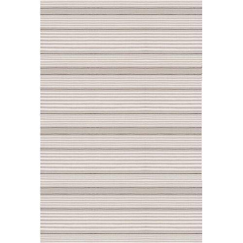Indoor/Outdoor Rugby Platinum Striped Rug