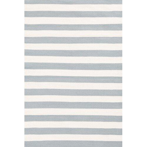 Indoor/Outdoor Trimaran Light Blue/Ivory Striped Rug