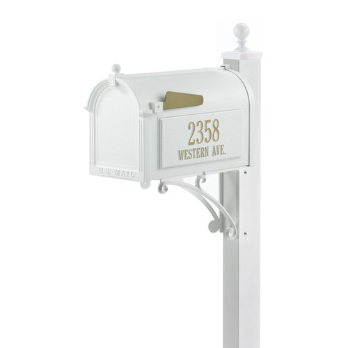 Superior White Streetside Mailbox Package with Finial Ball Top
