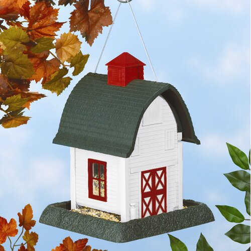 North States Small White Barn Decorative Bird Feeder