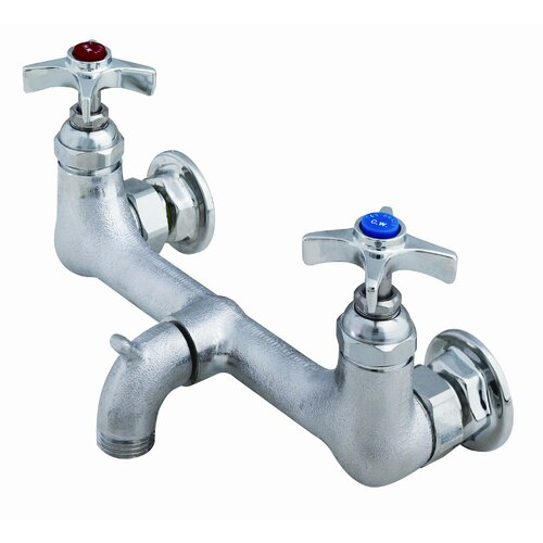 T&S Brass Wall Mounted Bathroom Faucet with Double Cross Handles