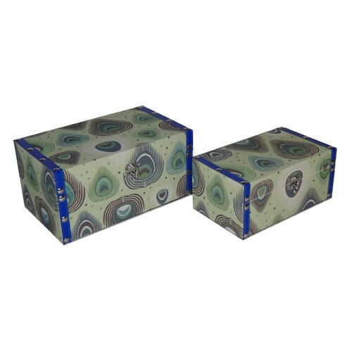 2 Piece Flat Top Keepsake Box with Peacock Design Set