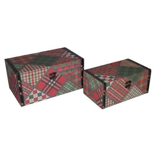 2 Piece Flat Top Keepsake Box with Patchwork Design Set