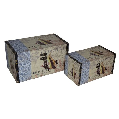 2 Piece Vinyl Coastal Themed Keepsake Box Set
