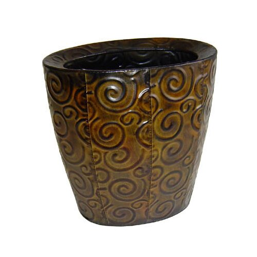 Cheungs Metal Vase with Swirl Design