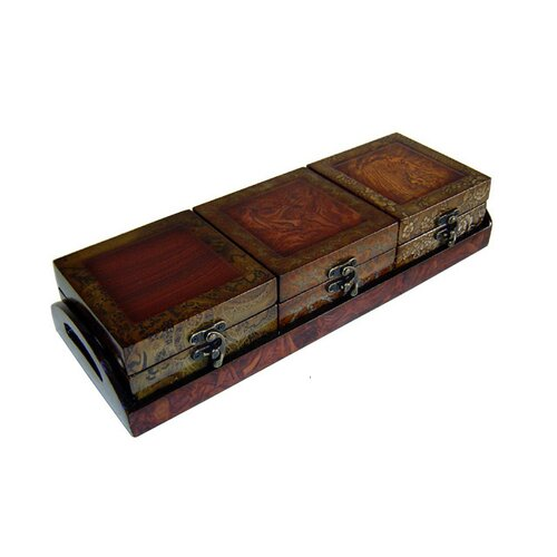 Wooden Treasure Chests with Tray (Set of 3)