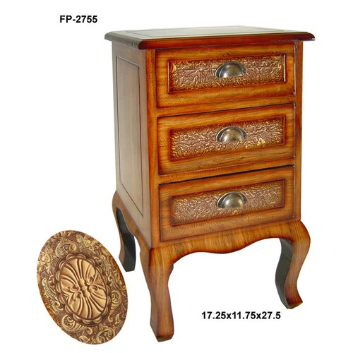 Wooden European Design Print 3 Drawers Cabinet