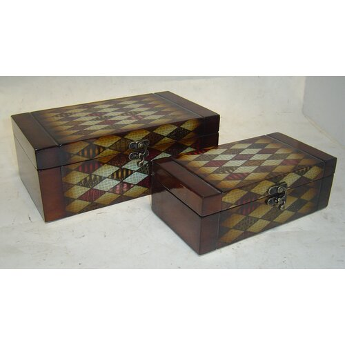 Cheungs Wooden Book Box with Diamond Pattern