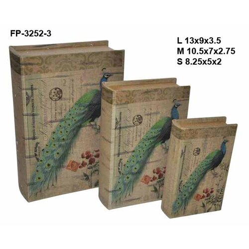 Vibrant Peacock Book Box (Set of 3)