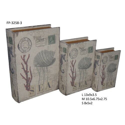 Coral and Sea Book Box (Set of 3)