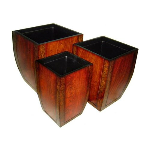Cheungs Three Piece Wooden Curved Tapered Square Planter Set in Reddish Brown