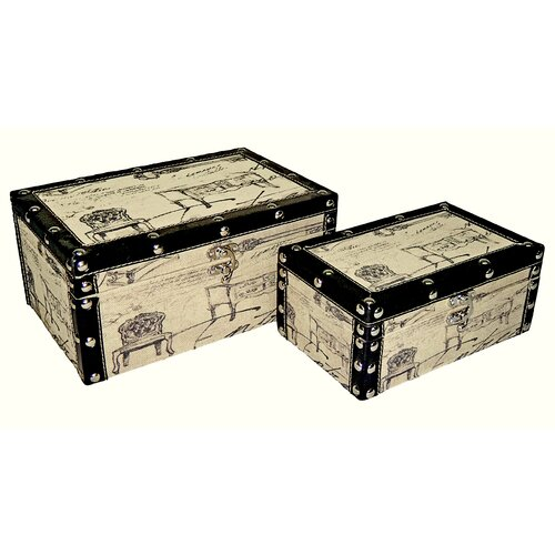 Rectangular Box with Sketched Chair (Set of 2)