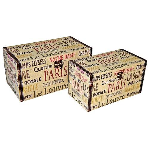 Rectangular Box with Parisian Typography (Set of 2)