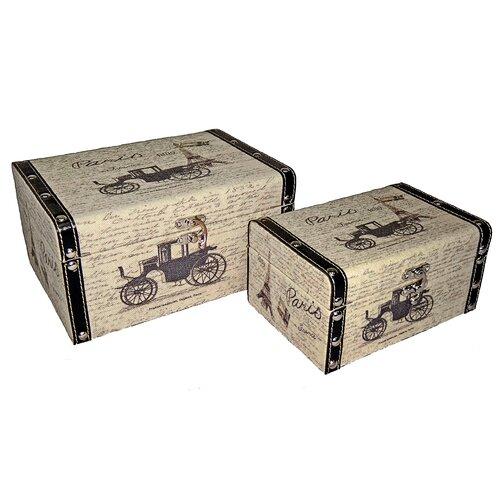 Rectangular Box with Paris and Carriage (Set of 2)