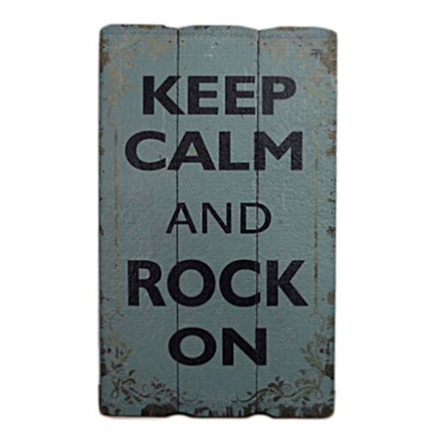 Wooden Wall Art with Keep Calm and Rock On Textual Art