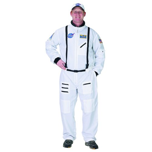 Aeromax Adult Astronaut Suit with Embroidered Cap Costume in White