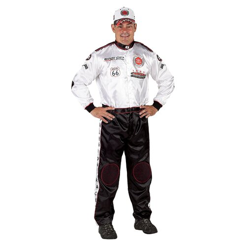 Adult Champion Racing Suit with Cap Costume in Black / White