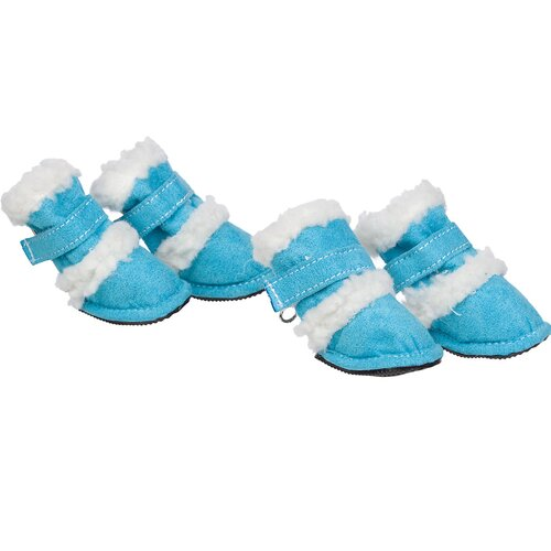 Duggz Snuggly Shearling Dog Boots in Blue and White