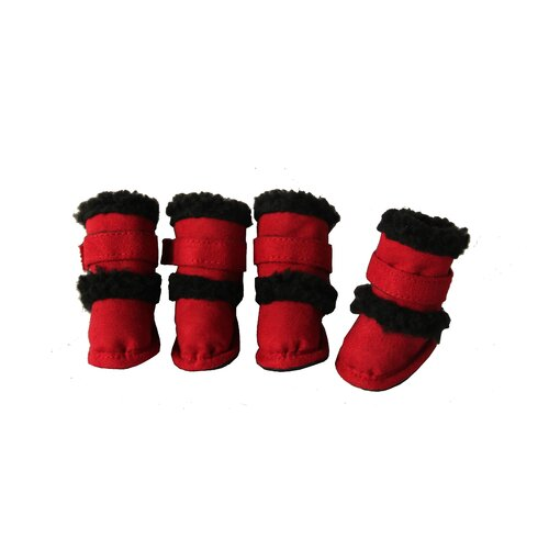 Duggz Snuggly Shearling Dog Boots in Red and Black