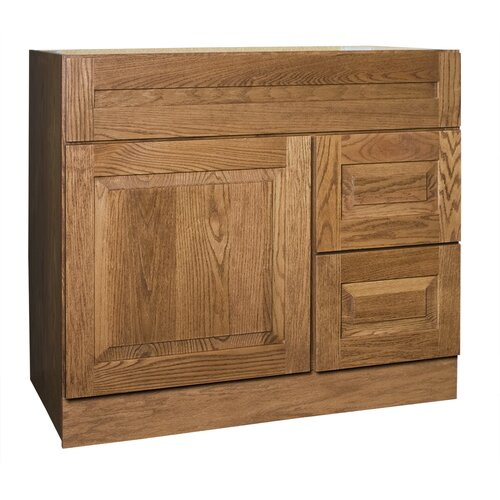 "Coastal Collection Amalfi Series 36"" Red Oak Bathroom Vanity Base"