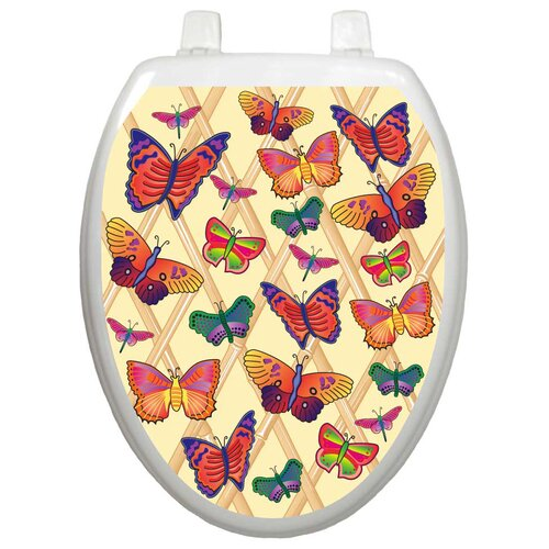 Toilet Tattoos Themes Butterflies-A-Flutter Toilet Seat Decal