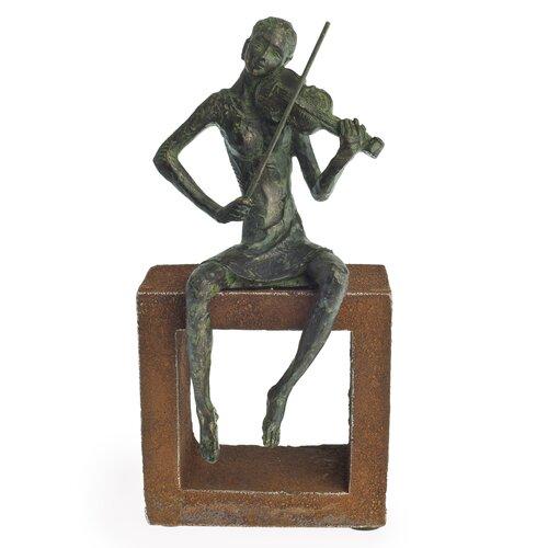 Violin Player on Rustic Stand Figurine