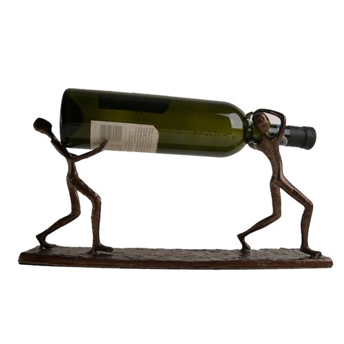 Two Men Carrying a Bottle Metal Wine Holder