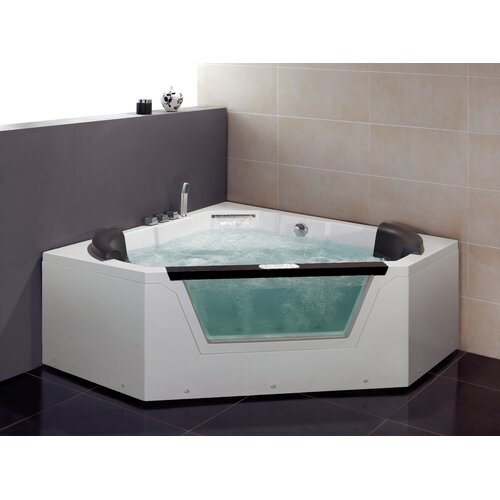 Corner Soaker Tub Dimensions Ariel Bath 59 X 59 Whirlpool Tub Reviews Wayfair