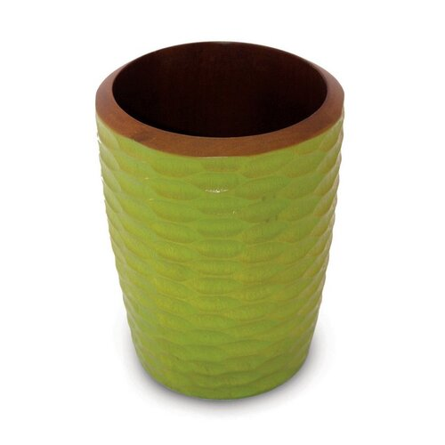 Casual Dining Utensil Vase in Avocado and Dark Brown Lacquer