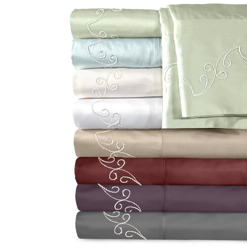 Supreme Sateen 500 Thread Count Cotton Scroll Pillowcase (Set of 2)
