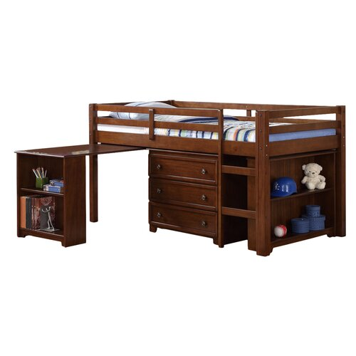 bear by pulaski pawsitively yours twin loft bed with desk and storage ...