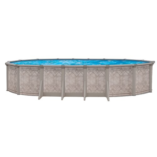 "Trevi Aqua Mate by Trevi Oval 52"" Deep Sunscape Above Gound Pool"