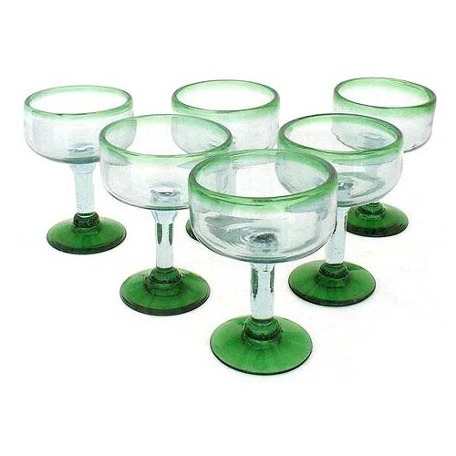 Javier and Efren Artisan Hand Blown Margarita Glass (Set of 6)
