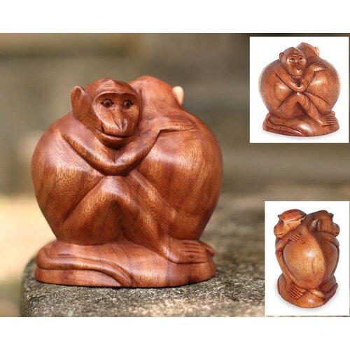 Novica Romancing Monkey Figurine