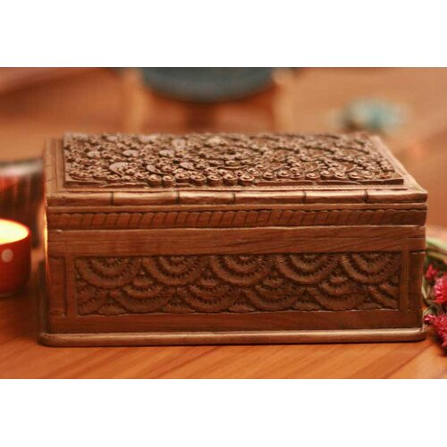 Novica Walnut Forest Jewelry Box