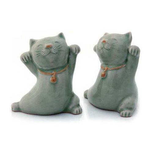 Novica 2 Piece Good Luck Cats Figurine Set