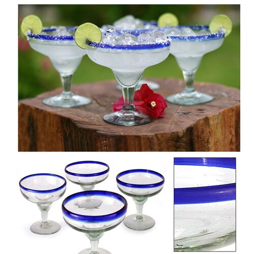 Novica Javier and Efren Artisan Happy Hour Hand Blown Margarita Glass