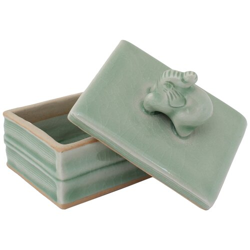 Novica Thatsanee and Ramphan Artisan Little Elephant Celadon Ceramic Box