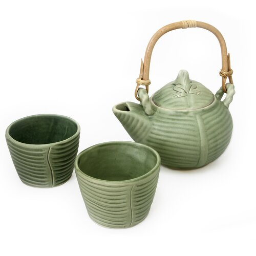 Novica Putu Oka Mahendra Artisan Banana Frog Ceramic Tea Set
