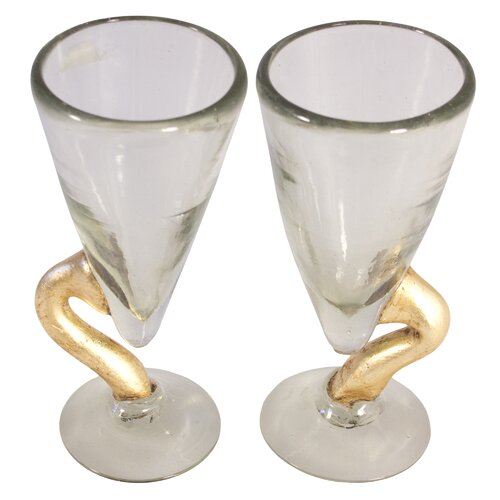 Novica Quirarte Family Golden Snake Blown Water Glass