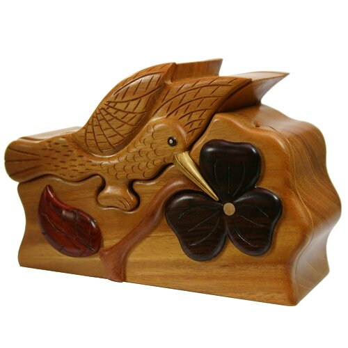 Novica Hummingbird Secrets Francisco Mendoza Artisan Mahogany and Ebony Puzzle Box