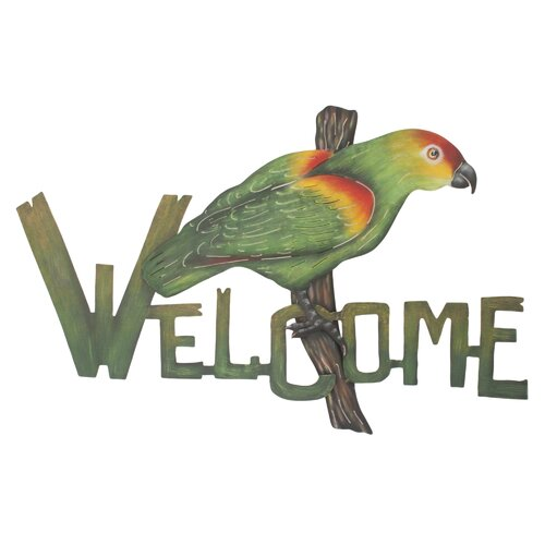 Novica The Alejandro de Esesarte Perky Parrot Welcome Sign Wall Décor