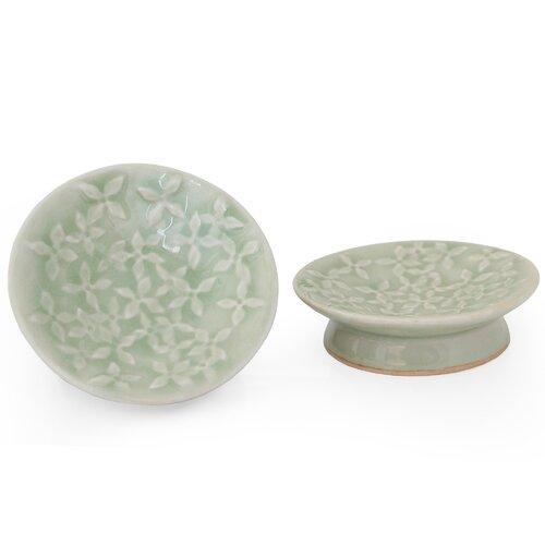 "Novica Duangkamol Artisan 3.7"" Frangipani Celadon Ceramic Canape Plate"