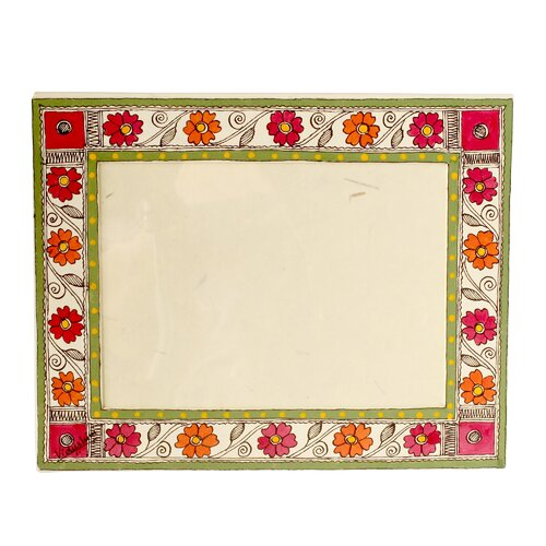 Novica The Vidushini Artisan (5x7) Flowers Of Bihar Madhubani Photo Frame