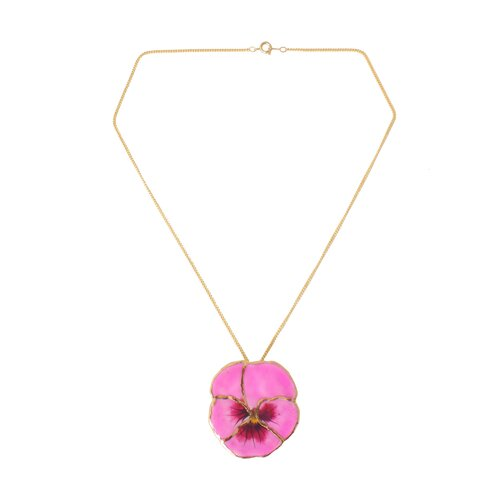 Novica The Danai Artisan Natural Flower Gold Pink Pansy Pendant Necklace