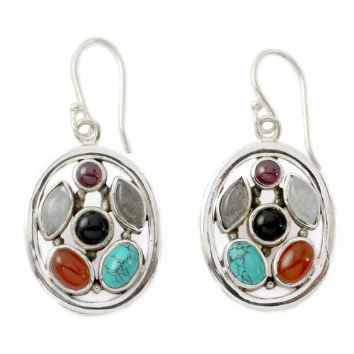 Novica The Neeru Goel Artisan Garnet and Moonstone Bouquet Dangle Earrings