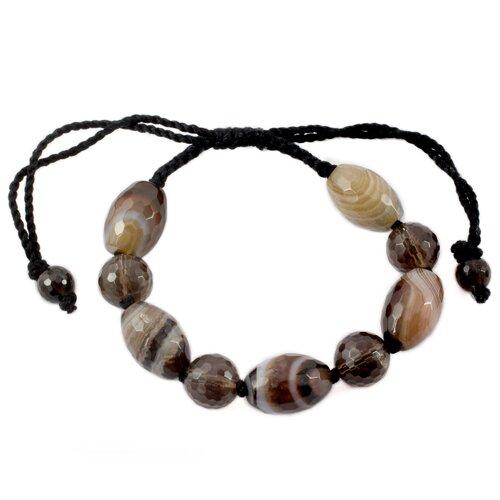 The Nalinee Artisan Smoky Quartz and Agate Indian Tiger Beaded Bracelet